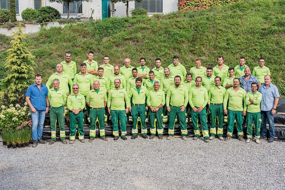 Team Strassenbau mit Bauführer